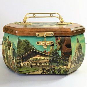 Vintage Wooden Purse Italy Italian Scene Decoupage